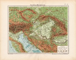 Osztrák - Magyar Monarchia hegy- és vízrajzi térkép 1906 (2) , eredeti, Ausztria és Magyarország