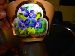 Biedermeier ibolyamintás  teás csésze -kézi festéssel