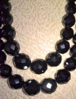 Fekete kétsoros üveg gyöngysor – hibátlan, 7.000 Ft