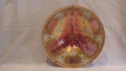 Cseh Bohémia aranyozott üveg falitál ritkaság plasztikus díszítéssel