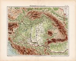 Magyarország hegy- és vízrajzi térkép 1906, magyar atlasz térképe, eredeti, Homolka József, régi