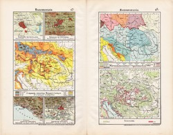 Magyarország kis térképek 1906 (1), térkép, atlasz, eredeti, Cholnoky Jenő, népesség, őstermelők