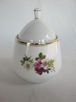 Hollóházi porcelán rózsás cukortartó