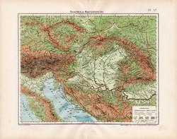 Osztrák - Magyar Monarchia hegy- és vízrajzi térkép 1906, atlasz, eredeti, Ausztria és Magyarország