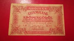 1946-os 1000000 Adópengő öttagú folyószám  amelyeknek+ fordított címeres
