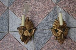 Falikar lámpa párban aranyozott fa 2 db.