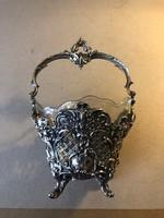 Régi, dekoratív 800-as ezüst kosár