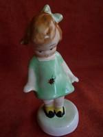Bodrogkeresztúri zöld ruhás katicás kislány figura