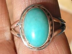 925 ezüst gyűrű 18,1/56,8 HU, zöldeskék perui amazonittal