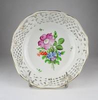 0X071 Antik Herendi virágos áttört porcelán kosár