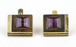 0X298 Elegáns lila köves réz mandzsetta gomb pár