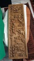 Antik   kép  kézi  faragás   igényes    munka  részletes   téma  falúsi  kép    95  cm