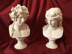 Bacchus és Ariadné Páros Mellszobor - Férfi és Nő Büszt (fehér Márvány)