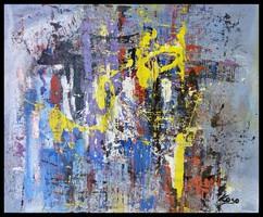 """"""" Kitörés """" Koso festmény , hatalmas méret 80 x 100 cm keretes akció"""
