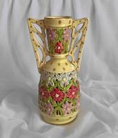 Fischer Emil kézzel festett,áttört váza 24,5 cm
