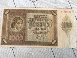 Régi papir penz horvát