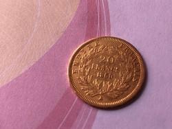 1860 arany francia 20 frank 6,45 gramm 0,900