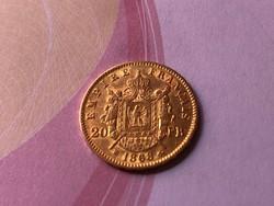 1868 arany francia 20 frank 6,45 gramm 0,900 gyönyörű darab