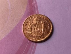 1862 arany francia 20 frank 6,45 gramm 0,900