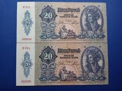 1941 20 pengő 2 db sorszámkövető UNC bakjegy, tökéletes állapotban