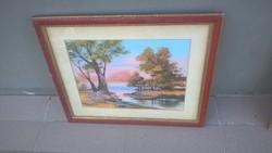 Szép kis tájkép festmény hátulján jelztés