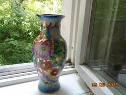 Kézzel festett virágos,arany zománcos kínai váza-26 cm