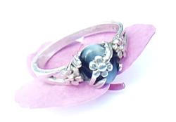 Ezüst gyűrű szürke macskaszem kővel