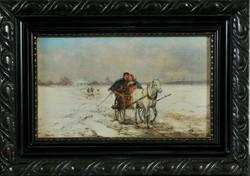 Jan Wolsky (1907-1990): Fiatal pár a szekéren a havas pusztán