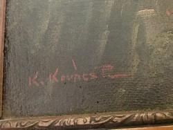 K. Kovács - Jézus az olajfák hegyén festmény, 135x65 cm