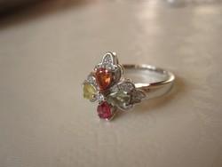 Valódi és ritka: sárga, zöld és vörös zafír ezüst gyűrű szerencsehozó 4 levelű - igazi nyári darab