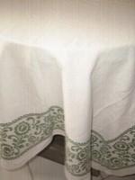 Csodaszép fehér zöld virágos szőttes terítő