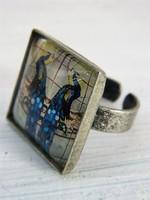 Egyedi pávamotívumos vintage ékszer / gyűrű