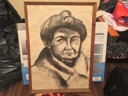 63x86 Angyalföldi Szabó Zoltán Önarckép portré grafika