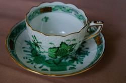 Herendi zöld indiai kosaras mokkás 711 csésze és alj