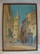 Utcakép , jelzett pasztell festmény új keretben