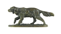 0X229 Antik bronz kutya miniatűr szobor