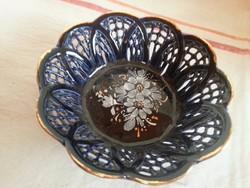 Kék áttört virágmintás gyűrűtartó apró tálka