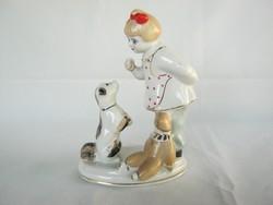 Orosz porcelán kislány kutyával