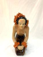 Art deco női kerámia szobor, 1930-40 körül