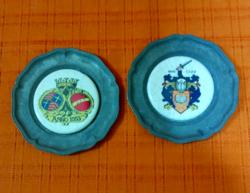 Ón tányérkák festett porcelán betéttel