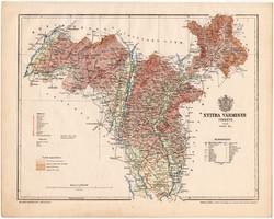 Nyitra vármegye térkép 1899, Magyarország atlasz (a), Gönczy Pál, 24 x 30 cm, megye, Posner Károly