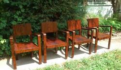 Kuriózum! Nagyon ritka Különleges Antik Art deco 4db karfás szék. CCa1920.