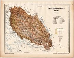 Lika - Krbava vármegye térkép 1899, Magyarország atlasz (a), Gönczy Pál, 24 x 30 cm, megye, Posner