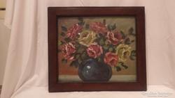 Virágcsendélet festmény keretben olaj-vászon 44x50 cm