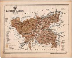 Alsó - Fehér vármegye térkép 1899, Magyarország atlasz (a), Gönczy Pál, 24 x 30 cm, megye, Posner K.