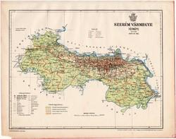 Szerém vármegye térkép 1899, Magyarország atlasz (a), Gönczy Pál, 24 x 30 cm, megye, Posner Károly