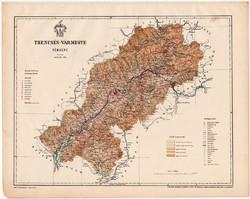 Trencsén vármegye térkép 1899, Magyarország atlasz (a), Gönczy Pál, 24 x 30 cm, megye, Poner Károly