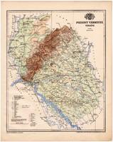 Pozsony vármegye térkép 1899, Magyarország atlasz (a), Gönczy Pál, 24 x 30 cm, megye, Posner Károly