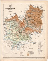 Ung vármegye térkép 1899, Magyarország atlasz (a), Gönczy Pál, 24 x 30 cm, megye, Posner Károly