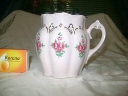 Rózsaszín, aranyozott, rózsás bögre, csésze